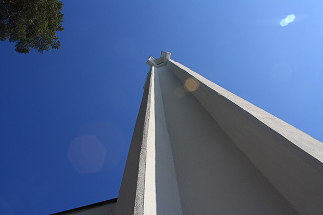 Belfry from below at the Vuoksenniska Church (Church of 3 Crosses), Vuoksenniska, Finland 1958