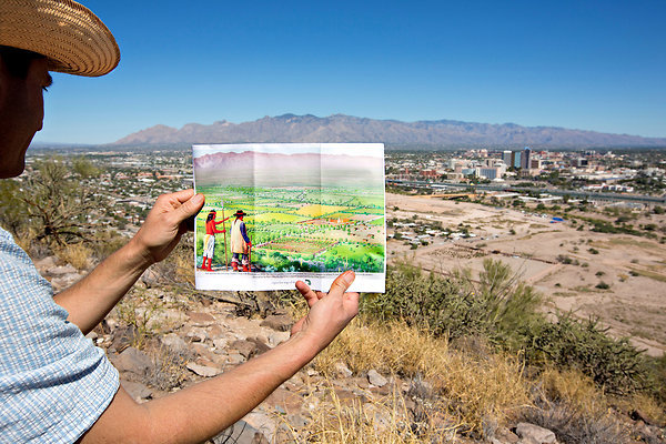 A view of modern Tucson and a drawing of the same scene when the area was known as New Spain. Credit: John Burcham for The New York Times