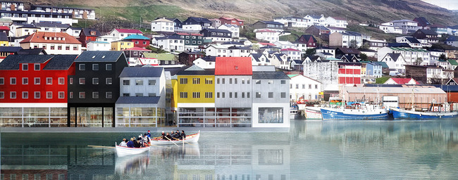 Elevation view: relationship between Klaksvík City Center and Old City (Image: Kubota & Bachmann Architects)