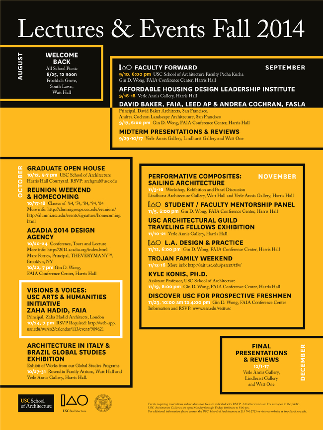 USC School of Architecture - LECTURES & EVENTS FALL 2014. Image via arch.usc.edu.