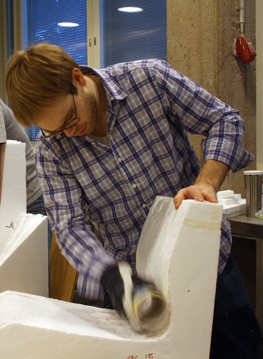 5. Alexander Morley sanding the foam mold