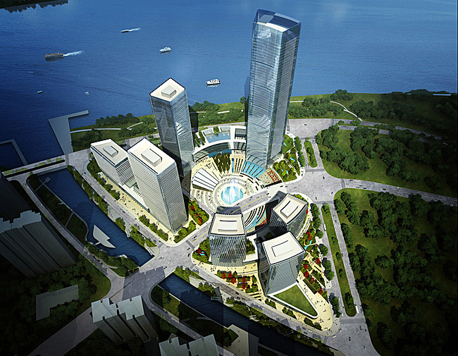 Aerial view of Goettsch Partners' winning master plan for the new Pazhou district in Guangzhou, China (Image: Goettsch Partners)