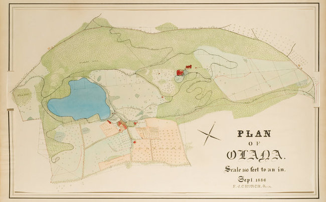 "An 1886 master plan for Olana in ink and watercolor on paper. A tiny red square marked ""summer house"" suggests that he envisioned an open-air structure at a central spot on the site. Credit Collection, Olana State Historic Site"