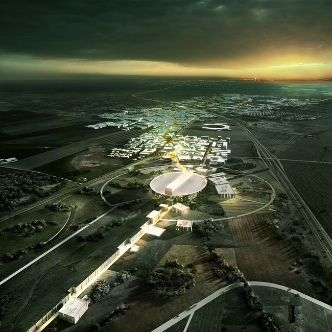Aerial view of the winning design for the European Spallation Source (ESS) by Henning Larsen Architects, COBE and SLA (Image: Henning Larsen Architects)