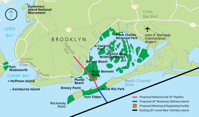 Controversy has arisen over a planned pipeline that would stretch under the Rockaways. Credit: Williams