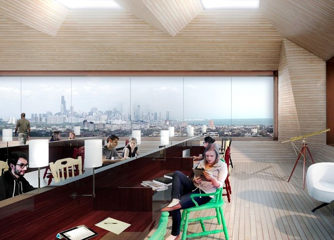The Chicago skyline can be seen at the top-floor reading room of the new complex