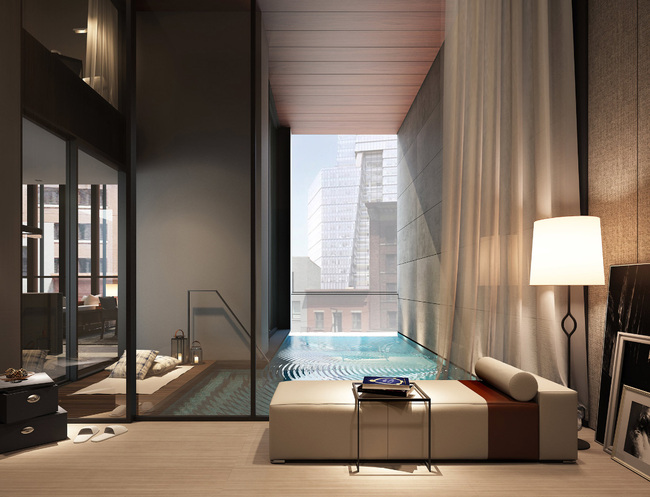 Sixteen of the units in the condo will have private pools. Most of them will be built in alcoves, and open to the street. (The New York Times; Rendering: SCDA Architects)