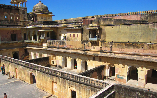 The subdivided courtyard of Man Singh's Palace in Amber Fort