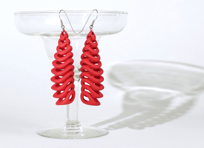 "Paco Levine's 3D printed contest entry, ""Teton Earrings"""
