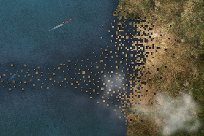 1Week1Project's new work proposes an architectural intervention spanning across the Mediterranean. Credit: 1W1P
