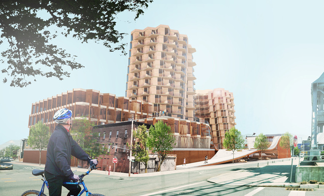 BikeHive by Zijie Cao and Xin Wu of Workshop XZ - Timber in the City competition entry. Image courtesy of Workshop XZ