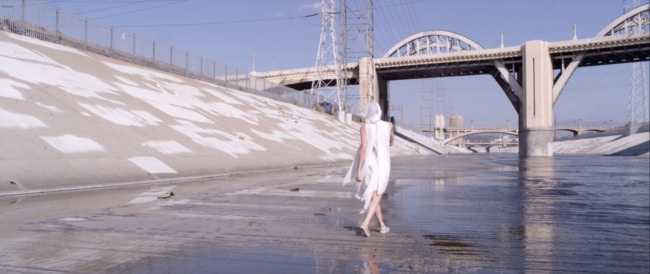 "A screenshot from ""6,"" an experimental documentary about the Sixth Street Viaduct spanning the LA River. Credit: Gharnasi"