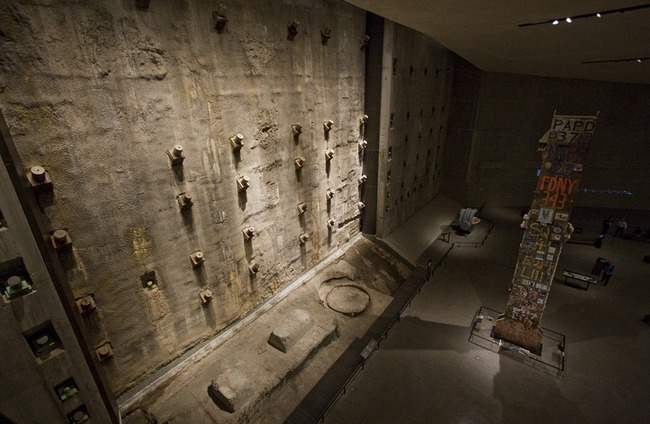 View of the slurry wall from within the September 11 Museum, where a portion has been left uncovered. Image via ny.curbed.com
