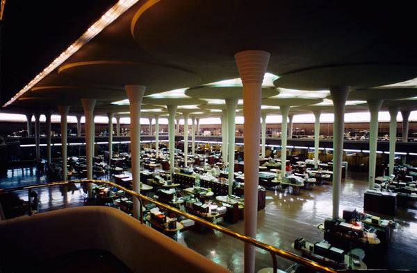 "Interior, ""Great Workroom"", of the Johnson Wax Headquarters building—the project referenced in Wright's letter to Truslow. Image via Wikipedia."