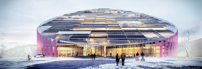 "Illustration of ""E = mc²"" by Wingårdhs, the winning proposal for Statoil's new Forus West building."
