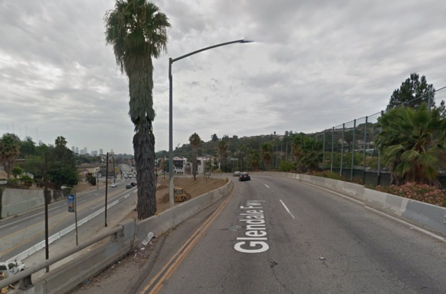 The elevated section of 2 Freeway as it abruptly ends and becomes Glendale Blvd in Echo Park, a few miles outside of Downtown Los Angeles. Credit: Google Maps