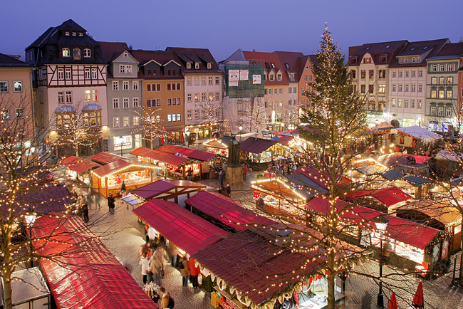 Christmas market in Jena, Germany. Image via wikipedia.org.