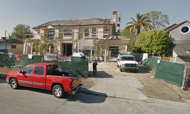 One of Arcadia's new mansions under construction in March 2012. Image via Google Street View.