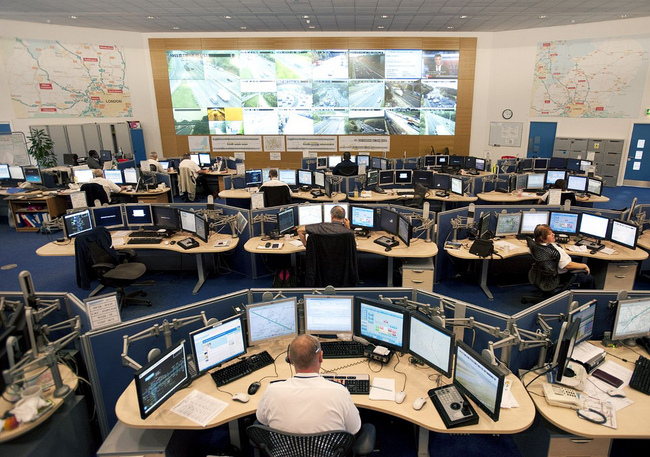 South Mimms Regional Control Centre for the M25 motorway, London. [Photo by the UK Highways Agency]
