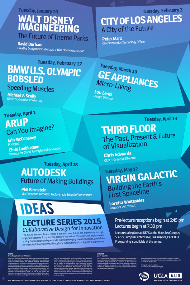 UCLA A.UD IDEAS LECTURE SERIES 2015. Image via www.aud.ucla.edu.