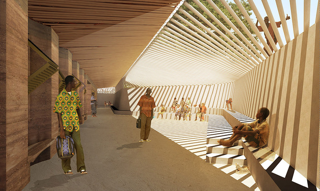 Global Holcim Awards 2012 Gold: Secondary school with passive ventilation system, Gando, Burkina Faso: The newly shaded landscape creates a platform for meeting, learning and teaching with multiple sports fields. (Image  Holcim Foundation)