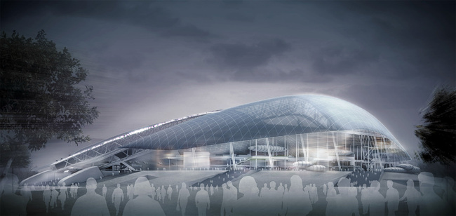 Fisht Olympic Stadium for the 2014 Winter Olympics in Sochi. Image courtesy of Populous.