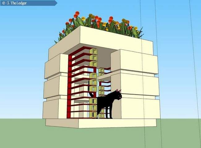 A rendering shows a house in the Community Cat Café project at Florida Southern College. Also part of the project is capturing and spaying or neutering the cats at the college, and letting the cat population on the campus decline on its own. (DRAWING PROVIDED BY FLORIDA SOUTHERN COLLEGE)
