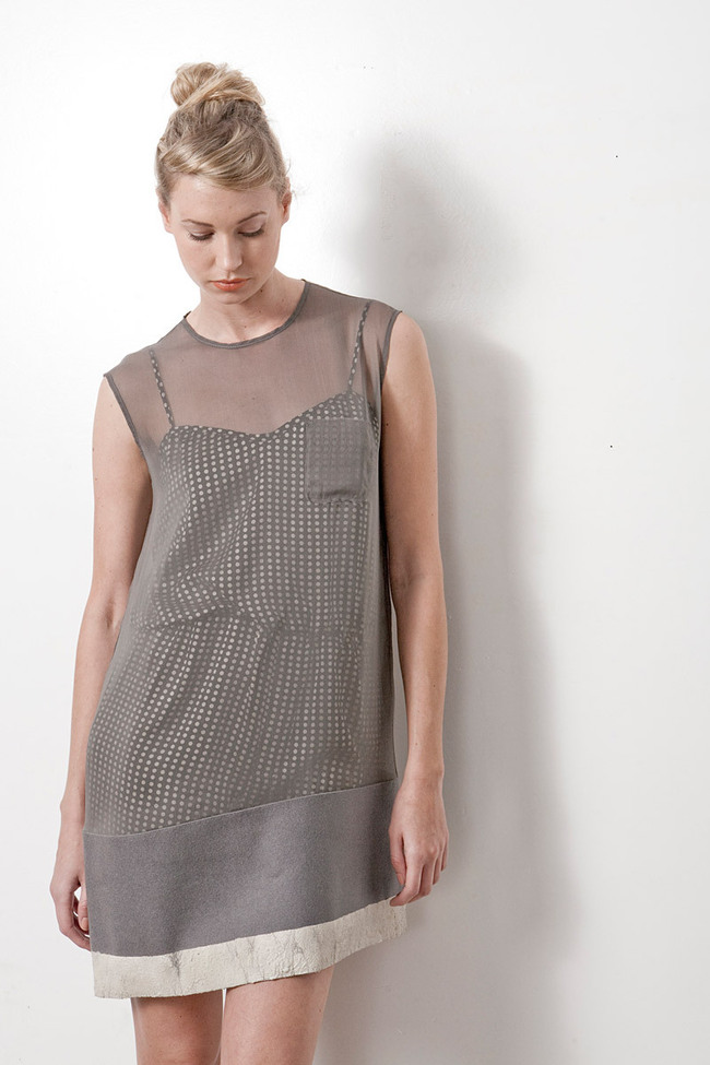 Fall_Winter 2011 Collection – silk shift dress with felted wool contrast dipped in concrete