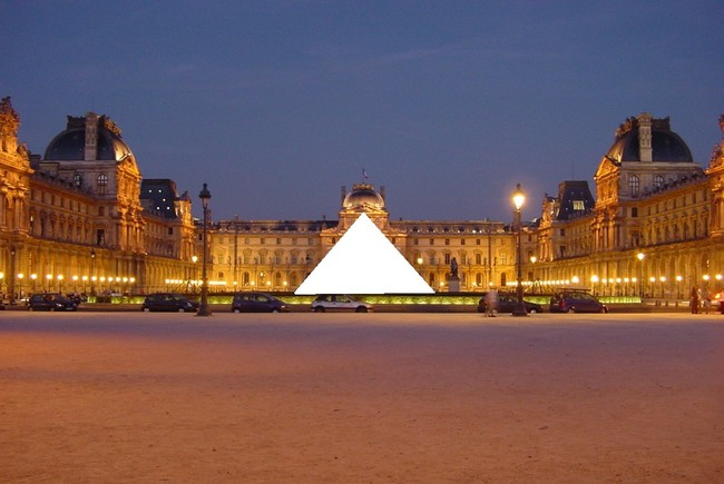 The Louvre Pyramid, censored due to French FoP laws. Photo whited out by 84user from FOLP image 2269; public domain.