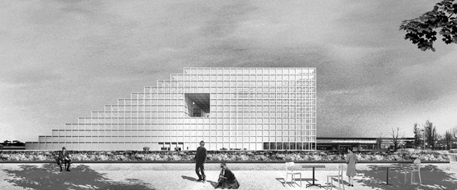 Along the Tempelhofer Damm, the building offers a view over Berlin's silhouette as it opens with a full-size city window in the central information area of the library. (Image: FAR frohn&rojas)