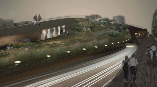 First Prize Winner of the d3 Natural Systems 2012 competition: Infrastructure Flows: Brooklyn-Queens Expressway by Young Bum Kim, Hung Kit Yuen (South Korea / Hong Kong)