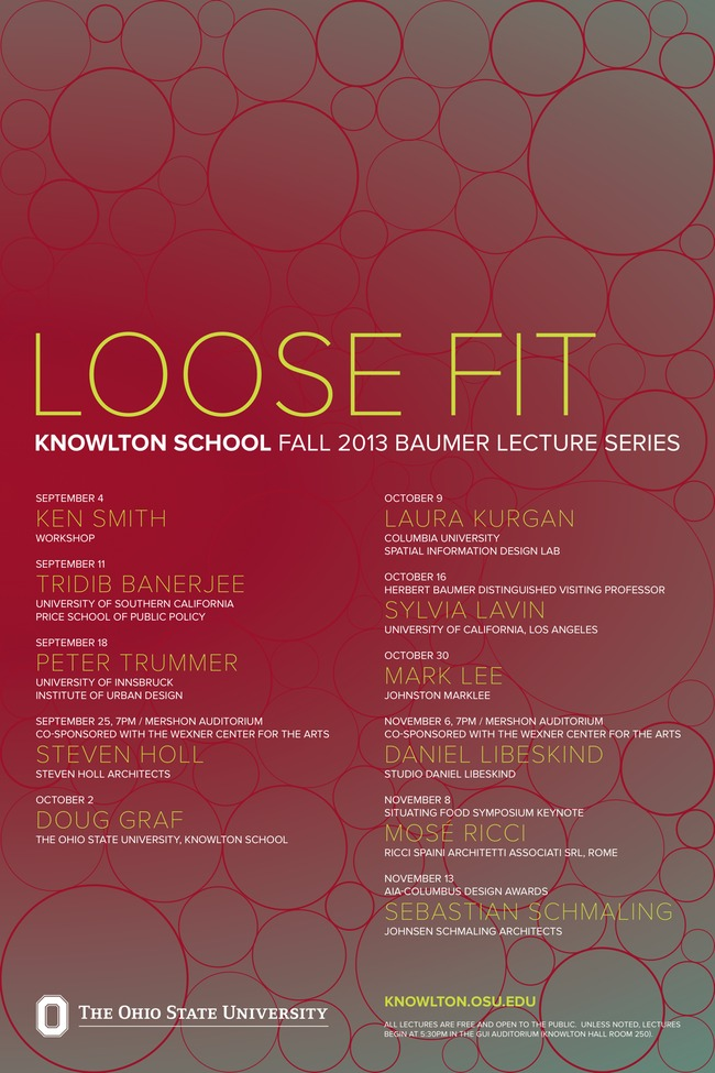 "Poster for the ""Loose Fit"" lecture series at the Knowlton School of Architecture at Ohio State University. Image from knowlton.osu.edu."