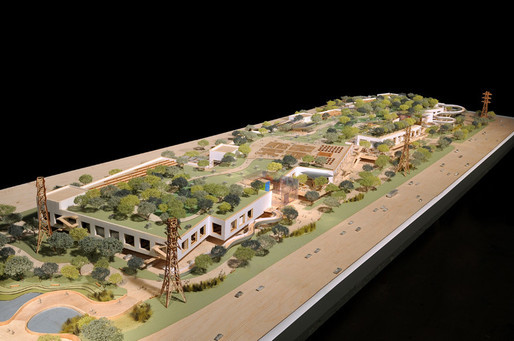 Model of the recently completed and newly occupied office building/park landscape/adult playground by Gehry for Facebook.