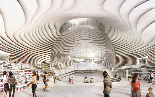 "A rendering of ""the eye"" in the Tianjin Library. Image: MVRDV"