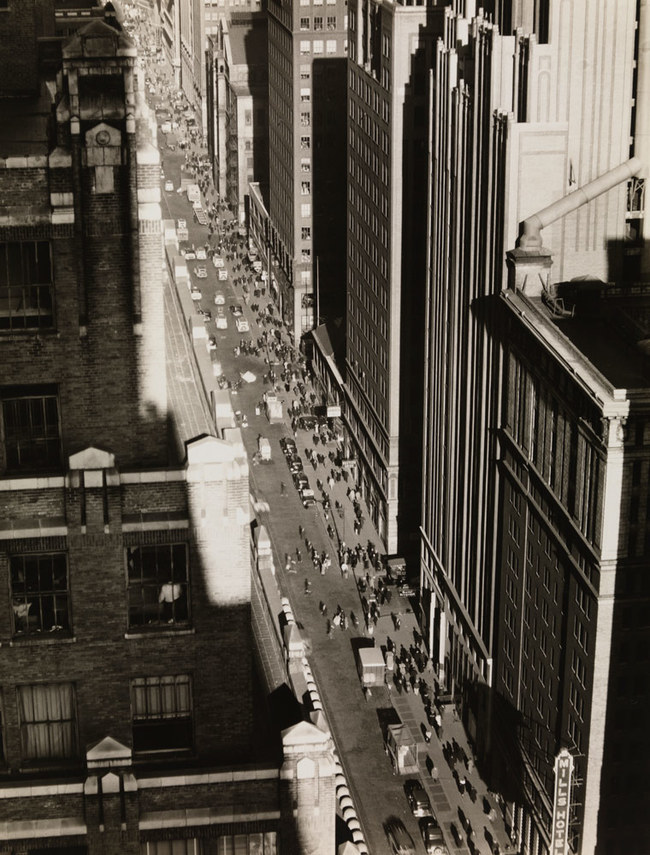 Seventh Avenue in Manhattan looking north from 35th Street, Berenice Abbott, 1935. (Image: Museum of the City of New York)