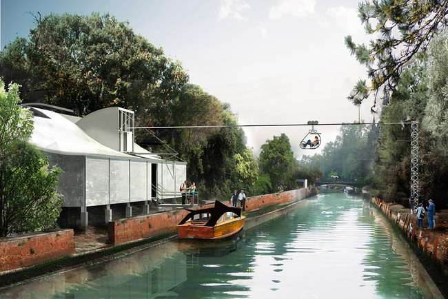 Richard Goodwin Pty Ltd - A water taxi journey around the Giardini, returning back to the Australian Pavilion via a zip line. Image © Richard Goodwin Pty Ltd