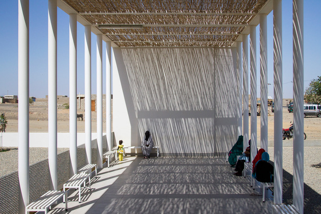 Wooden blinds shade a public terrace at the Port Sudan pediatric clinic. Credit Massimo Grimaldi and Emergency.