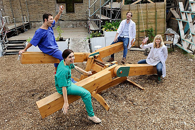 Thomas Kendall, Heather Ring, Jarred Henderson and Rachel Mikulsky as the doctors of Physic Garden.