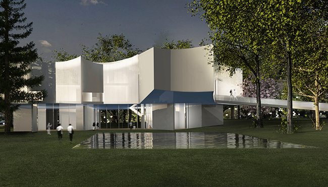 """""""Nightview"""" of Steven Holl Architects' new visual arts center. Image: Steven Holl Architects"""