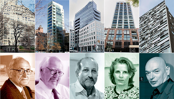 Pairs from left: Robert A. M. Stern and 15 Central Park West; Richard Meier and 173 Perry Street; Enrique Norten and One York Street; Annabelle Selldorf and 200 11th Avenue; Jean Nouvel and 100 11th Avenue image via the NYT