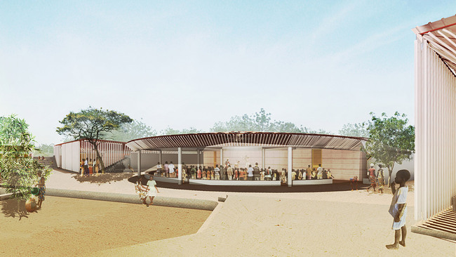 Global Holcim Awards 2012 Gold: Secondary school with passive ventilation system, Gando, Burkina Faso: The library is a focal point of the Gando school project. (Image © Holcim Foundation)