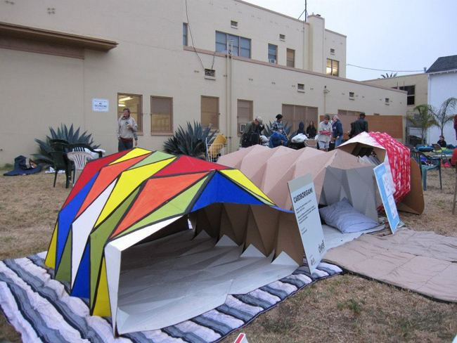Cardborigami raising awareness at the Venice Sleep Out in Venice, CA.