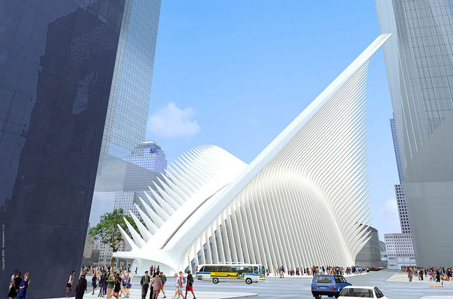 An early rendering of the WTC Hub. Credit: Santiago Calatrava via wikimedia.org