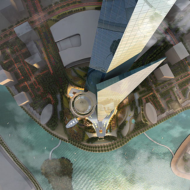 View from the air (Image: Adrian Smith + Gordon Gill Architecture)
