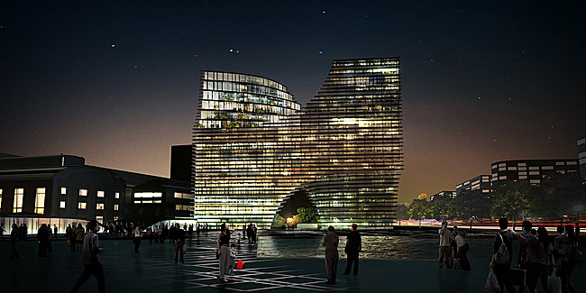 Hangzhou Gateway, night view, Image: JDS Architects