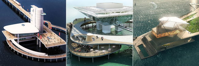 The three shortlisted proposals (from L to R): ALMA by Alfonso Architects; Destination St. Pete Pier by St. Pete Design Group; The Pier Park by Rogers Partners Architects+Urban Designers, ASD, Ken Smith. Images via newstpetepier.com, courtesy New St. Pete Pier competition.