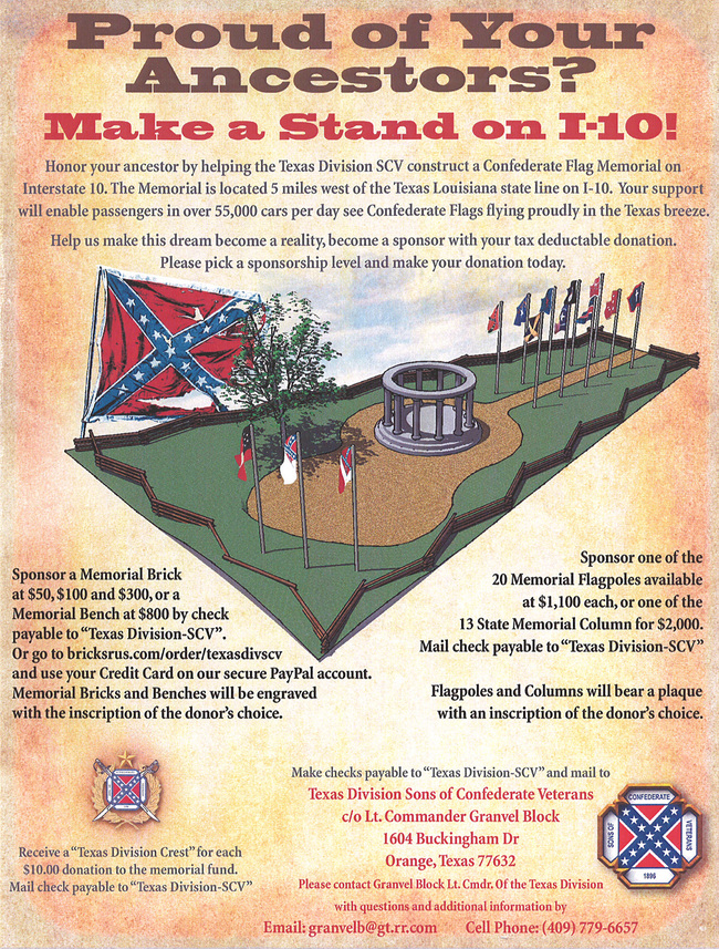 Fundraising poster for a Confederate Flag Memorial in the city of Orange, East Texas. (Image: Texas Division Sons of Confederate Veterans; via citylab.org)