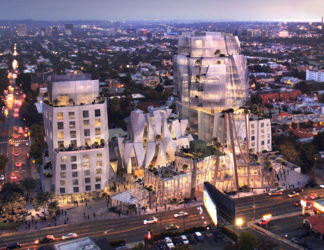 A rendering of Frank Gehry's development at 8150 Sunset Blvd. (credit Visualhouse).