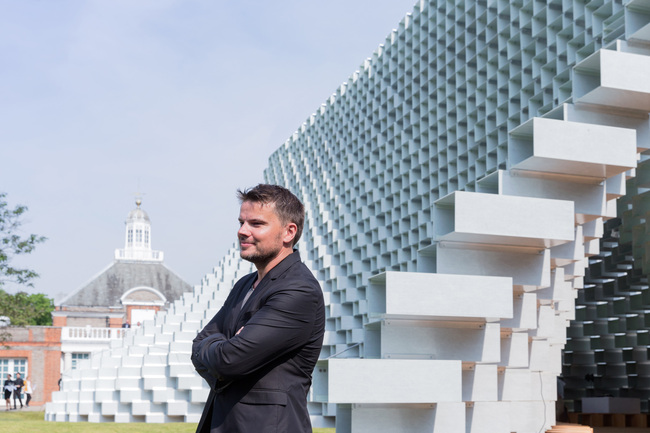 Architect Bjarke Ingels in front of the Serpentine Pavilion 2016 designed by Bjarke Ingels Group (BIG); (10 June – 9 October); Photo © Iwan Baan