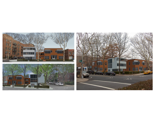 Three different perspectives of where the restored Aluminaire House and the adjacent residential building at the corner of 39th Ave and 50th Street in Sunnyside Gardens in Queens, New York.